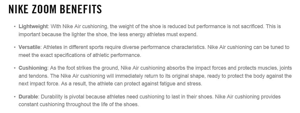 Nike Zoom Benefits